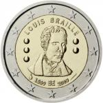 2 EURO - Bicentenary of the birth of Louis Braille 2009