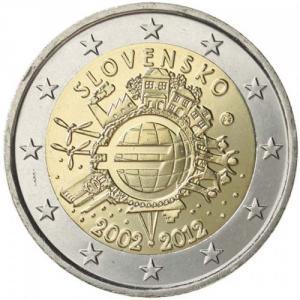 1745c0aa5 2 EURO Slovensko 2012 - 10. rokov Euro meny Kliknutím zobrazíte detail  obrázku.