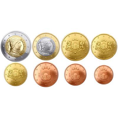Lettland Euro Münzsatz 2014 Nunofisk
