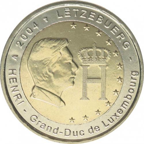 2 Euro Bildnis Und Monogramm Des Großherzogs Henri 2004 Nunofisk