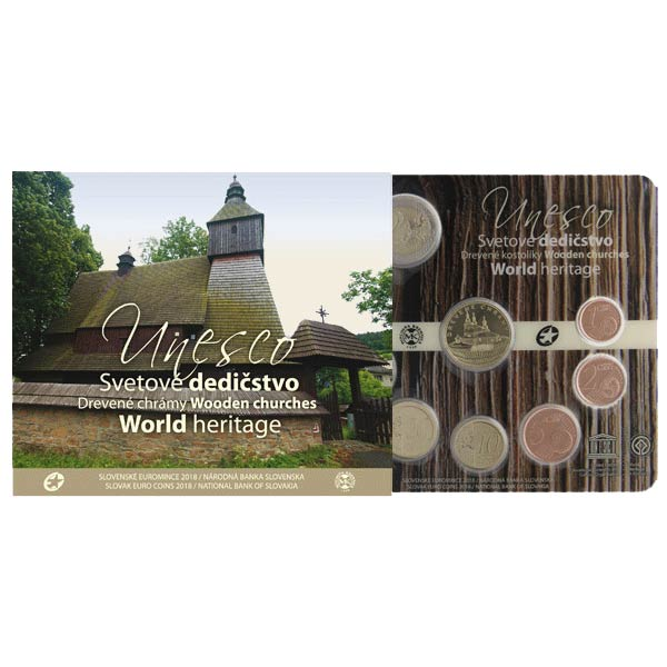 be009190d9571 Sada obehových EURO mincí SR 2018 - UNESCO: Drevené chrámy Kliknutím  zobrazíte detail obrázku.
